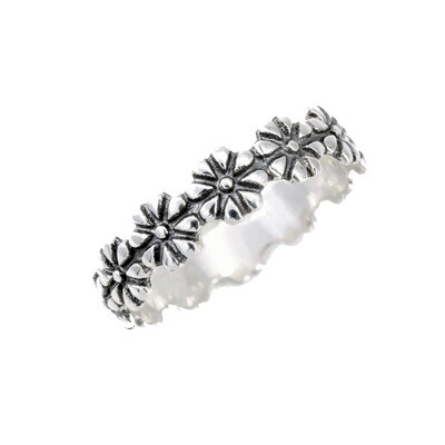 RP2186 Sterling Silver Daisies Ring