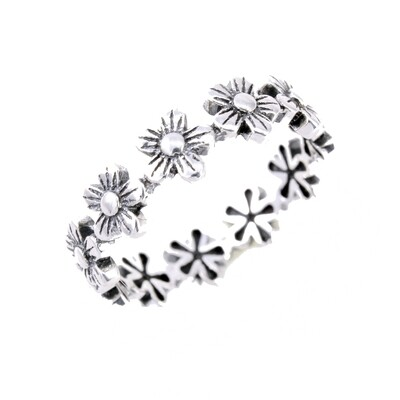 RP3036 Sterling Silver Flower Band