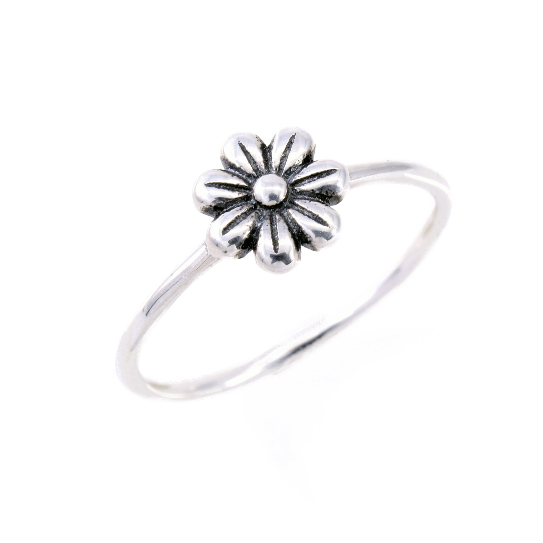 RP3686 Sterling Silver Single Flower Ring