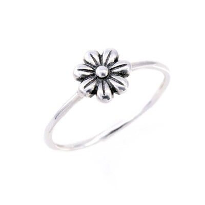 RP3686 Sterling Silver Single Flower Ring