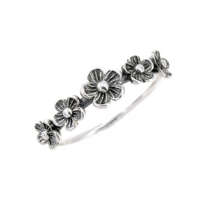 RP2973 Sterling Silver 5 Flowers Ring