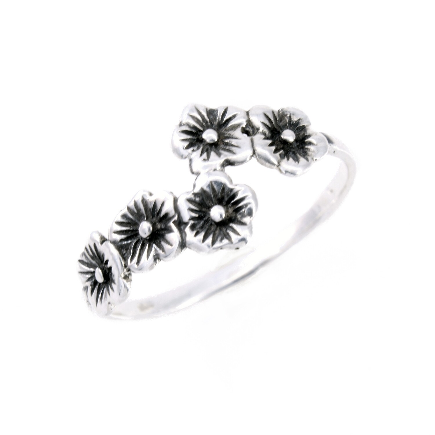 RW3522 Sterling Silver Chain of Flowers Ring