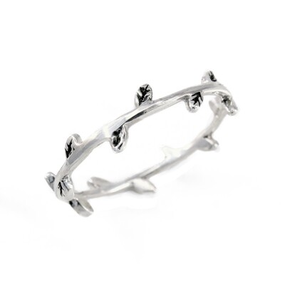 RW2026 Sterling Silver Alternating Leaves Rings