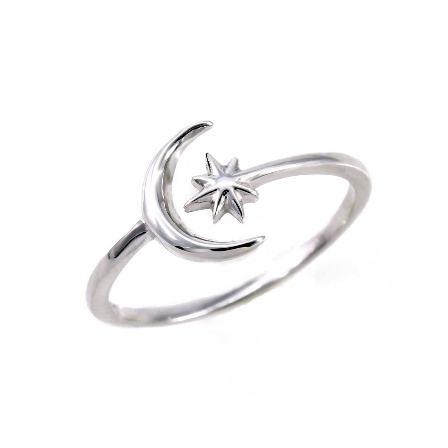 RP3322 Sterling Silver Moon/Starburst Wrap Ring
