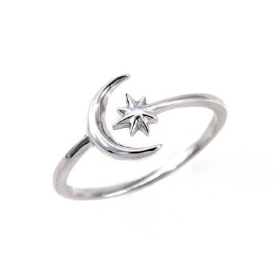 RP3322 Sterling Silver Moon/Starburst Wrap Ring