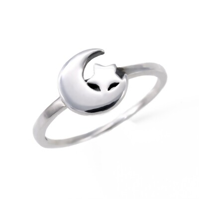 RP3186 Sterling Silver Solid Moon/Star Ring