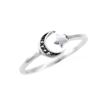 RP2837 Sterling Silver Marcasite Moon + Star Ring