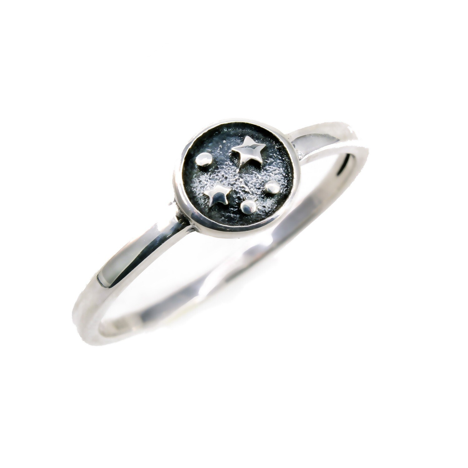 RP3869 Sterling Silver Ox Small Stars Disk Ring