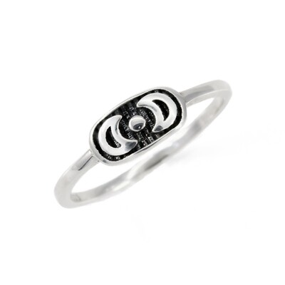 RP3792 Sterling Silver Double Moon Plaque Ring