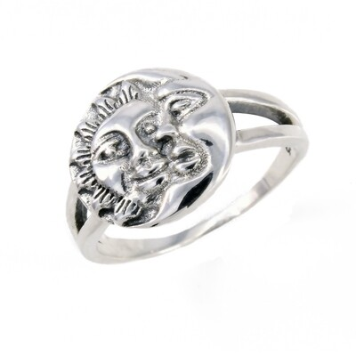 RP3724 Sterling Silver Large Sun + Moon RIng
