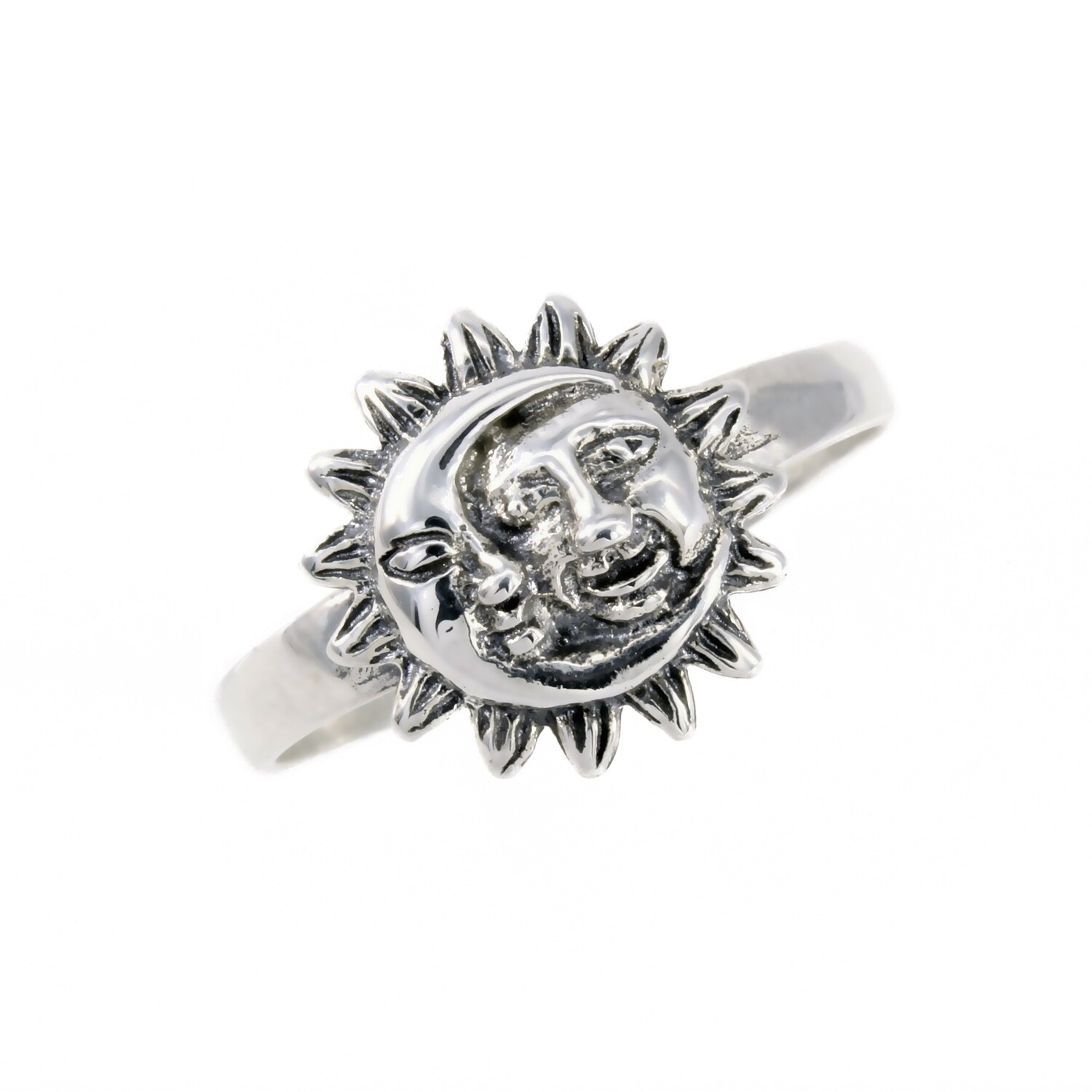 RP2374 Sterling Silver Sun + Moon Ring