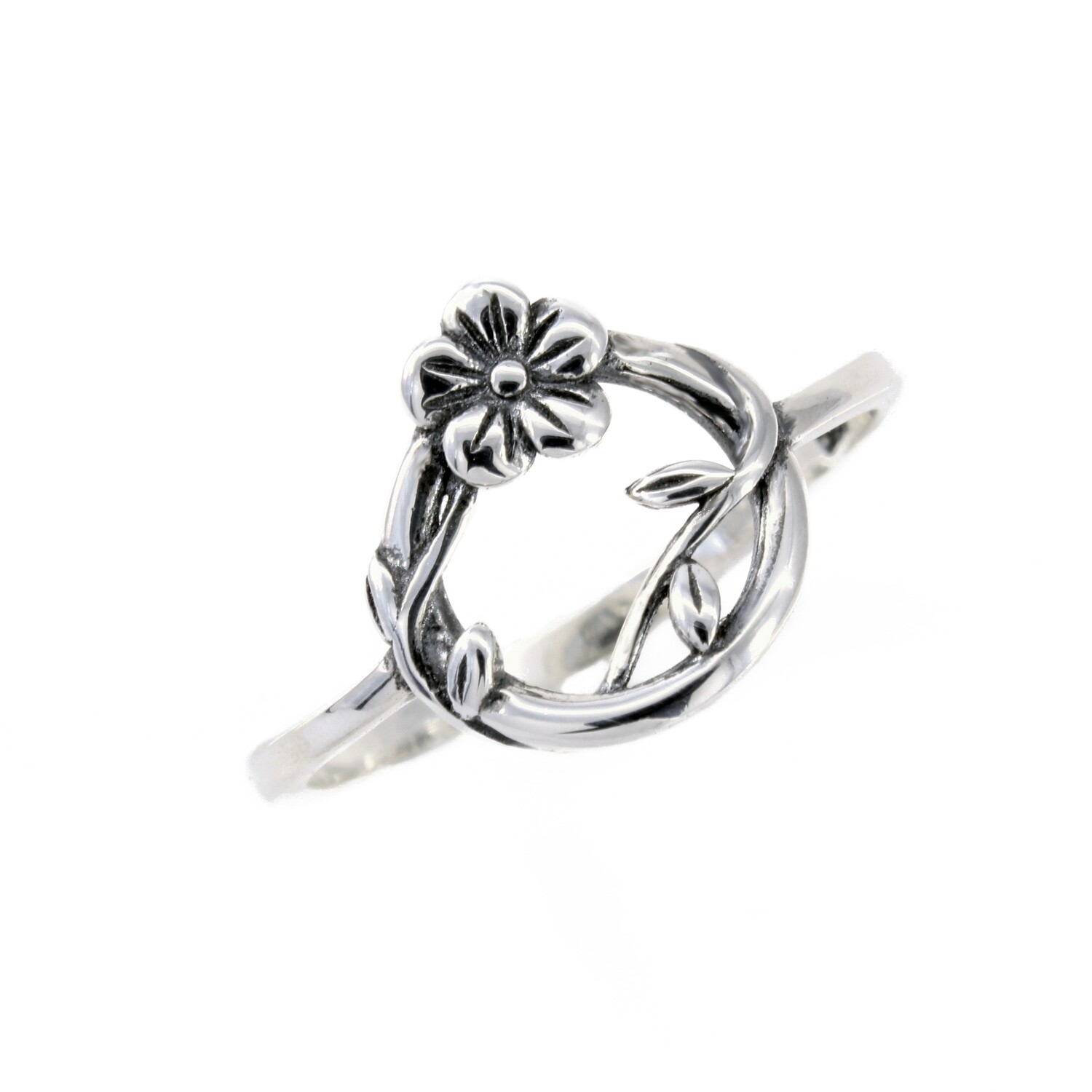 RP3593 Sterling Silver Floral Vine Circle Ring