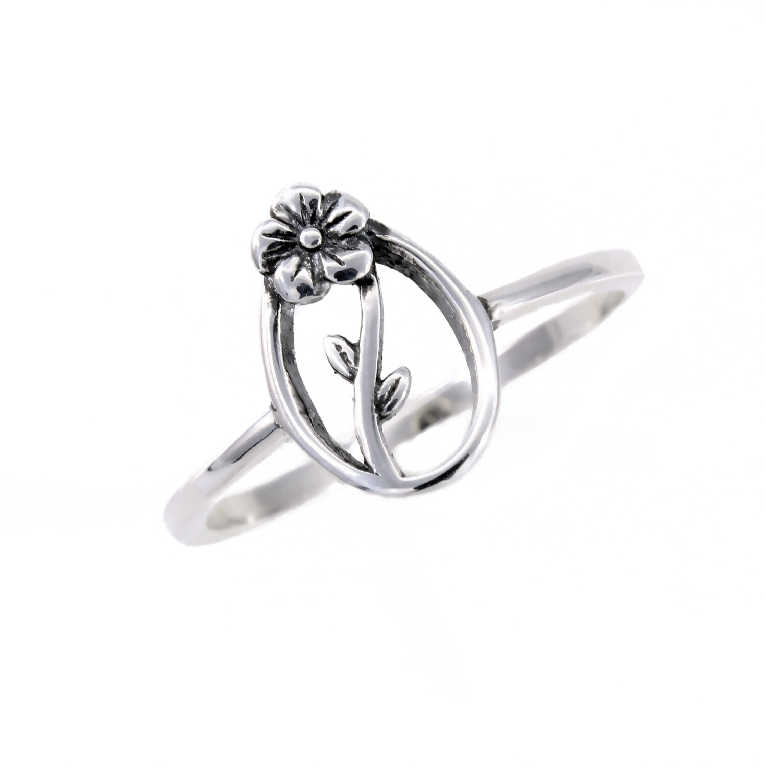 RP3828 Sterling Silver Open Oval Flower Ring