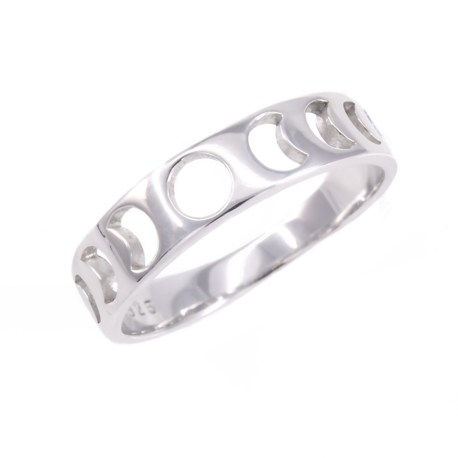 RP3473 Sterling Silver Moon Phases Cutout Band