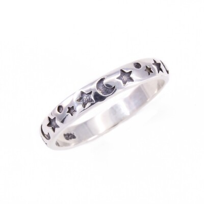 RP2192 Sterling Silver Moon + Star Band