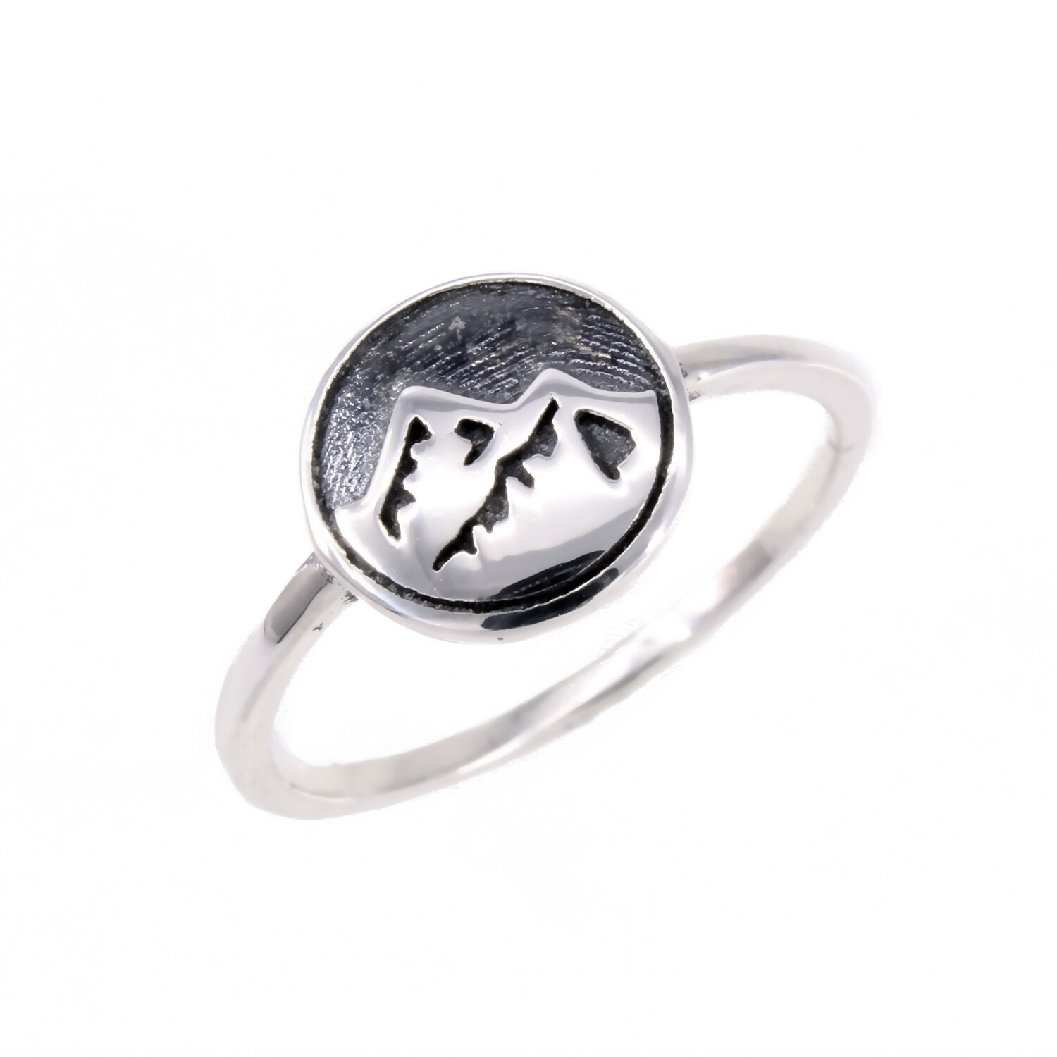 RP3353 Sterling Silver Mountain Disk Ring