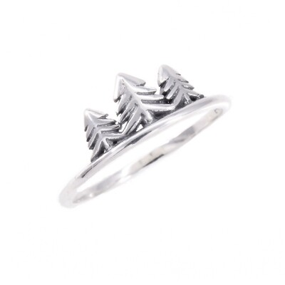 RP3492 Sterling Silver 3 Trees Ring