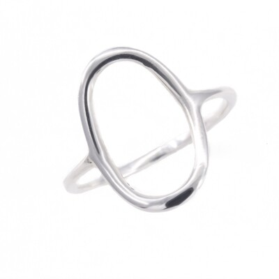 RW2198 Sterling Silver Vertical Open Oval Ring