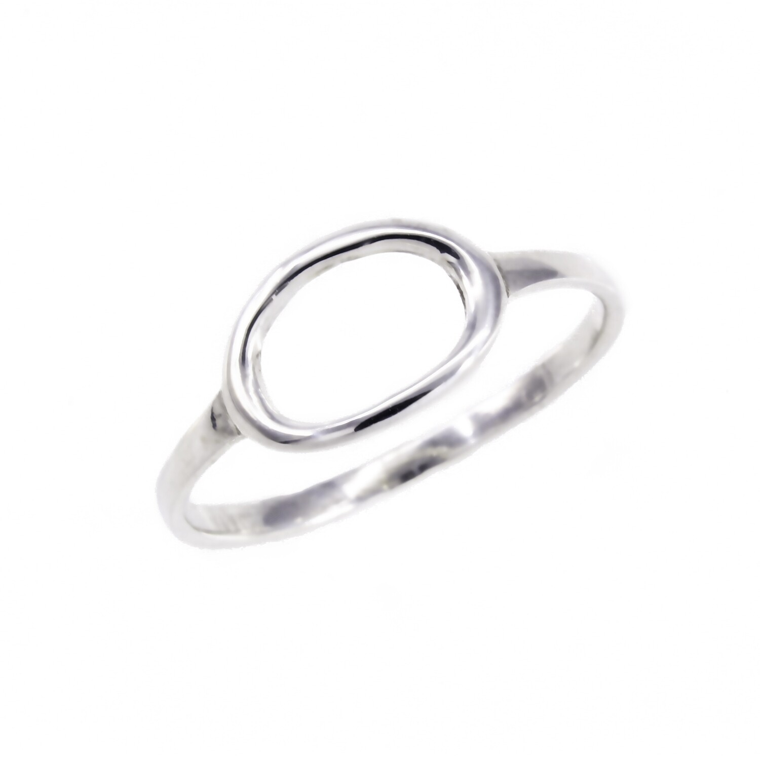 RW2183 Sterling Silver Open Horizontal Oval Ring