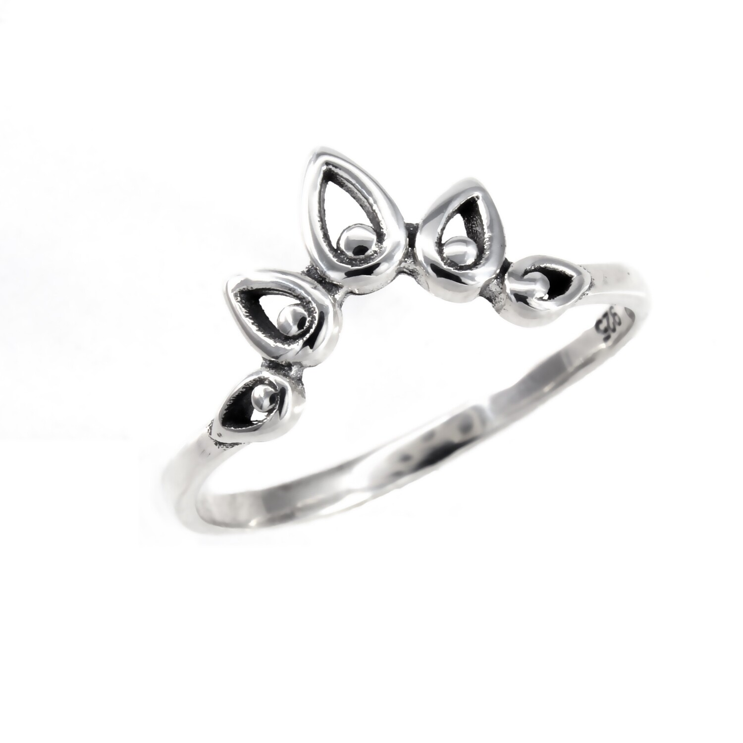 RP3700 Sterling Silver Bali Crown Ring