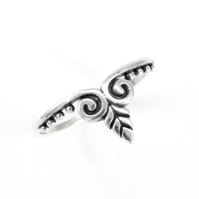 RP3493 Sterling Silver Floral Point Ring