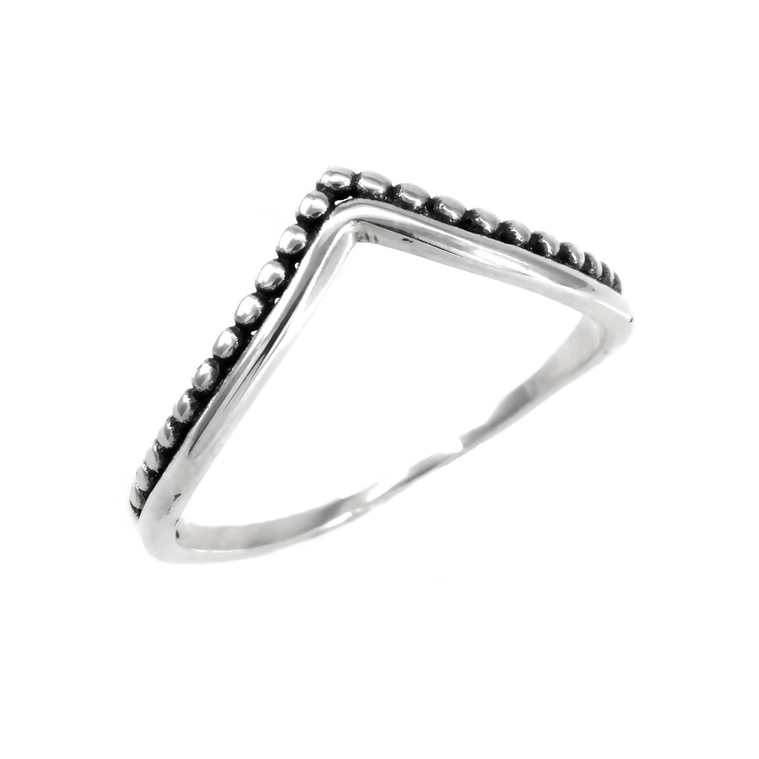 RP3020 Sterling Silver Dotted Chevron Ring