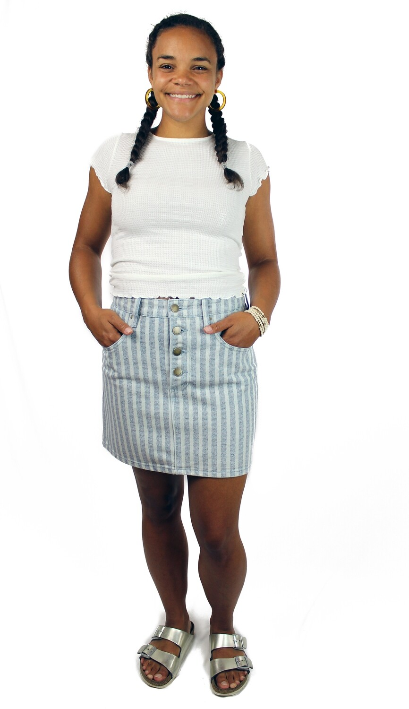 Billabong Cute As Indigo Denim Skirt CUT-BYD