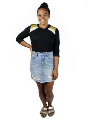 Billabong Denim Distressed Mini Skirt BTA-BEF