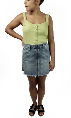 Free People Denim Mini Skirt Zip Up