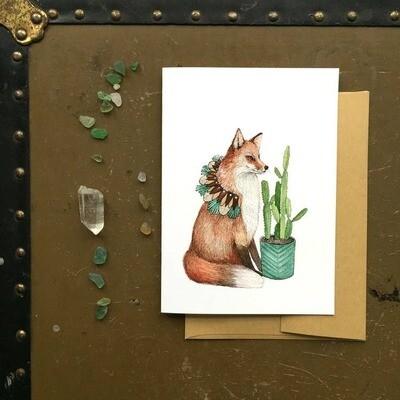 PH3 Fox Critters + Plants Greeting Card