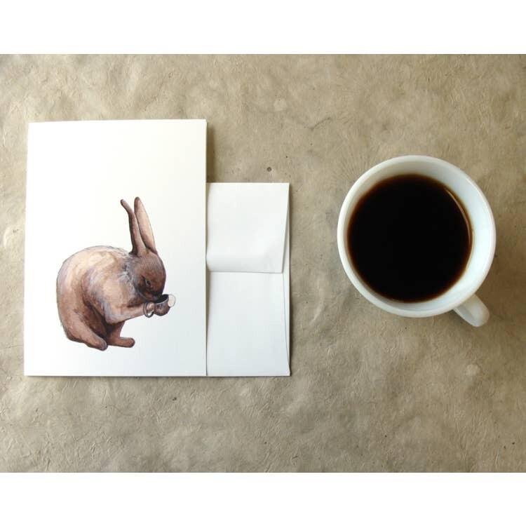 PH10 Rabbit Critters + Cups Greeting Cards