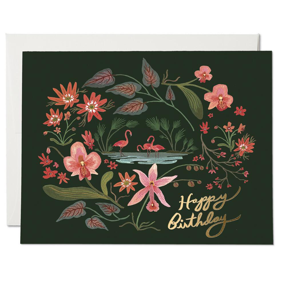 Pink Flamingo Happy Birthday Card - RC29