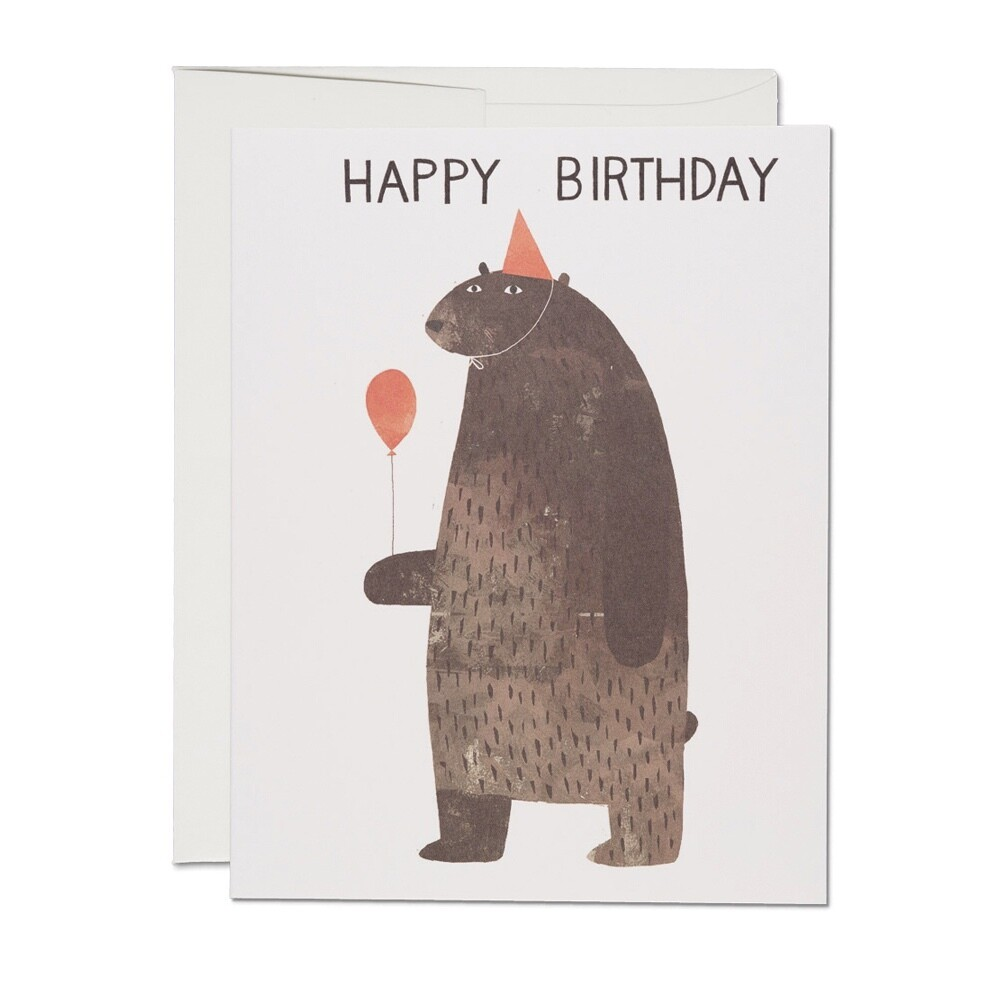 Party Bear Happy Birthday Card - RC3