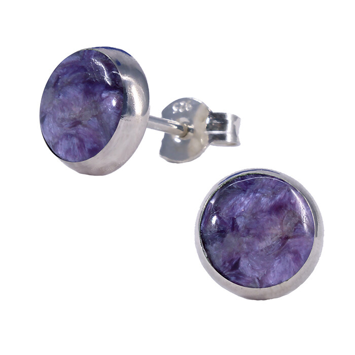 Charoite 8mm Sterling Silver Circle Posts - P8-CHR