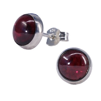 Garnet 8mm Sterling Silver Circle Posts - P8-GAR