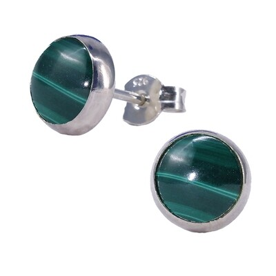 Malachite 8mm Sterling Silver Circle Posts - P8-MAL