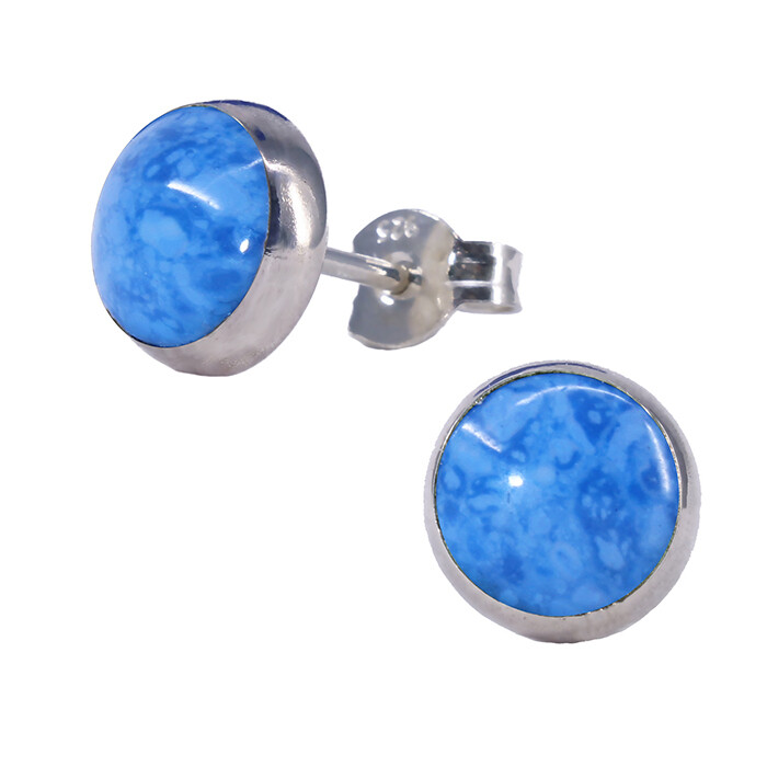 Denim Colored 8mm Sterling Silver Circle Posts - P8-DL