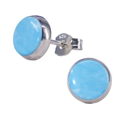 Sky Colored 8mm Sterling Silver Circle Posts - P8-LAR