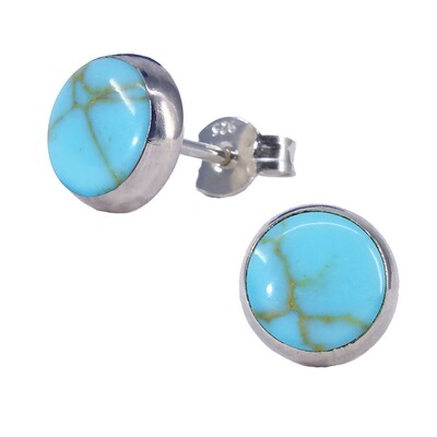 Turquoise Colored 8mm Sterling Silver Circle Posts - P8-TQ