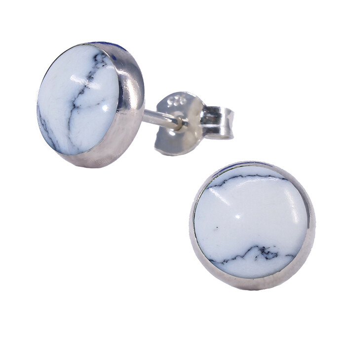 White Marbleized 8mm Sterling Silver Circle Posts - P8-HOW