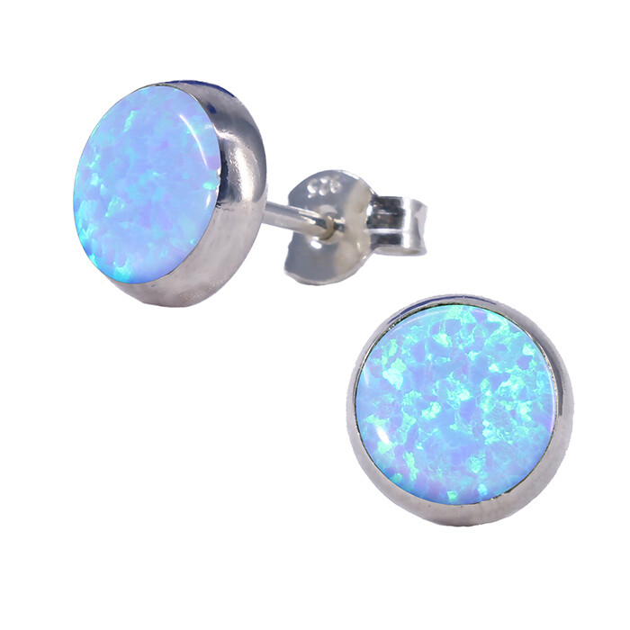 Opalescent 8mm Sterling Silver Circle Posts - P8-BOP