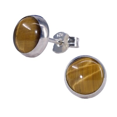 Tiger Eye 8mm Sterling Silver Circle Posts - P8-TE