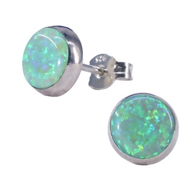 Opalescent 8mm Sterling Silver Circle Posts - P8-LGOP