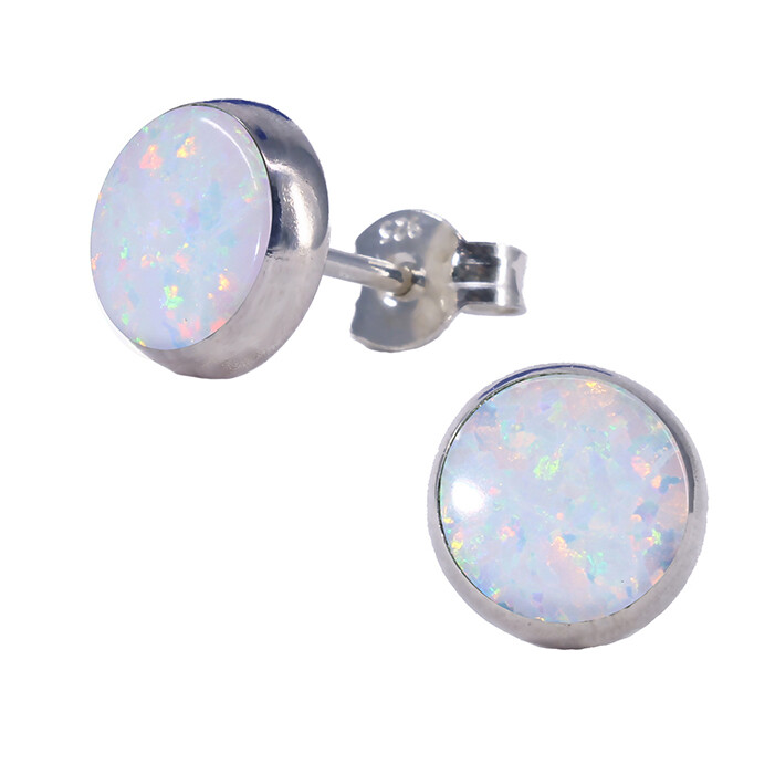 Opalescent 8mm Sterling Silver Circle Posts - P8-WOP
