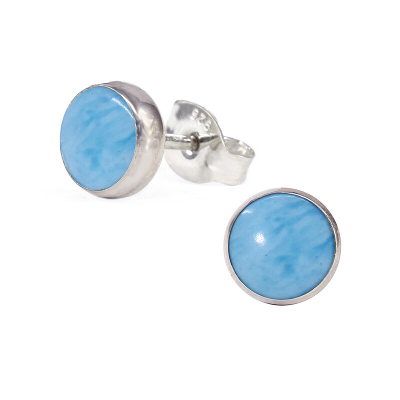 Sky Colored 6mm Sterling Silver Circle Posts - P6-LAR