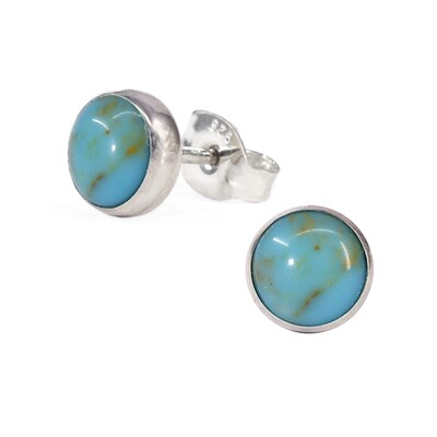 Turquoise Colored 6mm Sterling Silver Circle Posts - P6-TQ