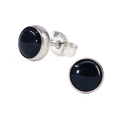 Black 6mm Sterling Silver Circle Posts - P6-BO