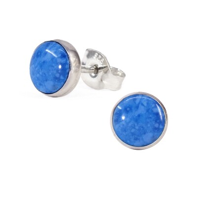 Denim Colored 6mm Sterling Silver Circle Posts - P6-DL