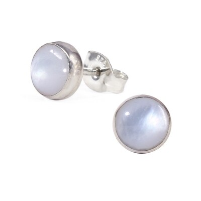 Mother of Pearl 6mm Sterling Silver Circle Posts - P6-MOP