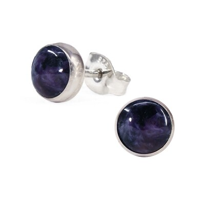 Charoite 6mm Sterling Silver Circle Posts - P6-CHR